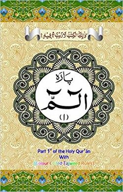 30 Parts of the Qur'an : Color Coded Tajweed Rules (Large Text) IndoPak Script 9 Lines Per Page